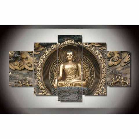 5 pieces Buddha Painting On Canvas Wall Decor - My Aashis