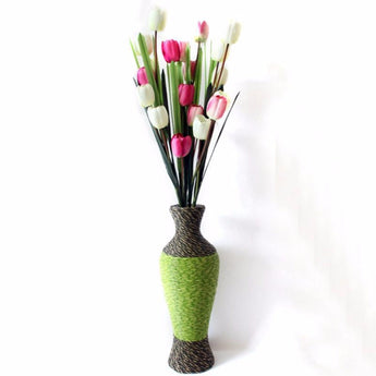 Handmade Flower Vase PC Plastic Rattan Woven Flower Vase Floor Vase Room Study Hallway Home Wedding Decoration - My Aashis