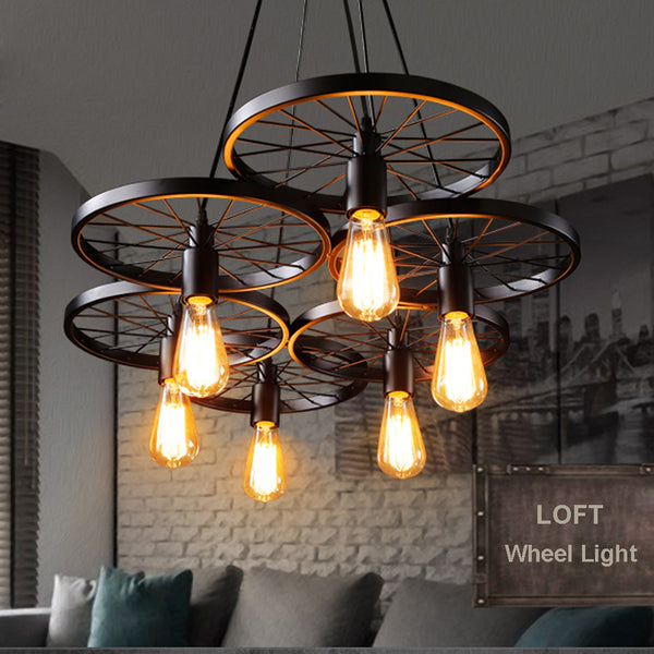 Vintage Metal Wheel Lights Loft Dining Room Lighting
