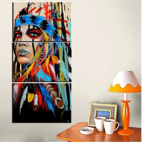 3 Piece Young Girl On Canvas Feather Woman Painting Wall Decor - My Aashis