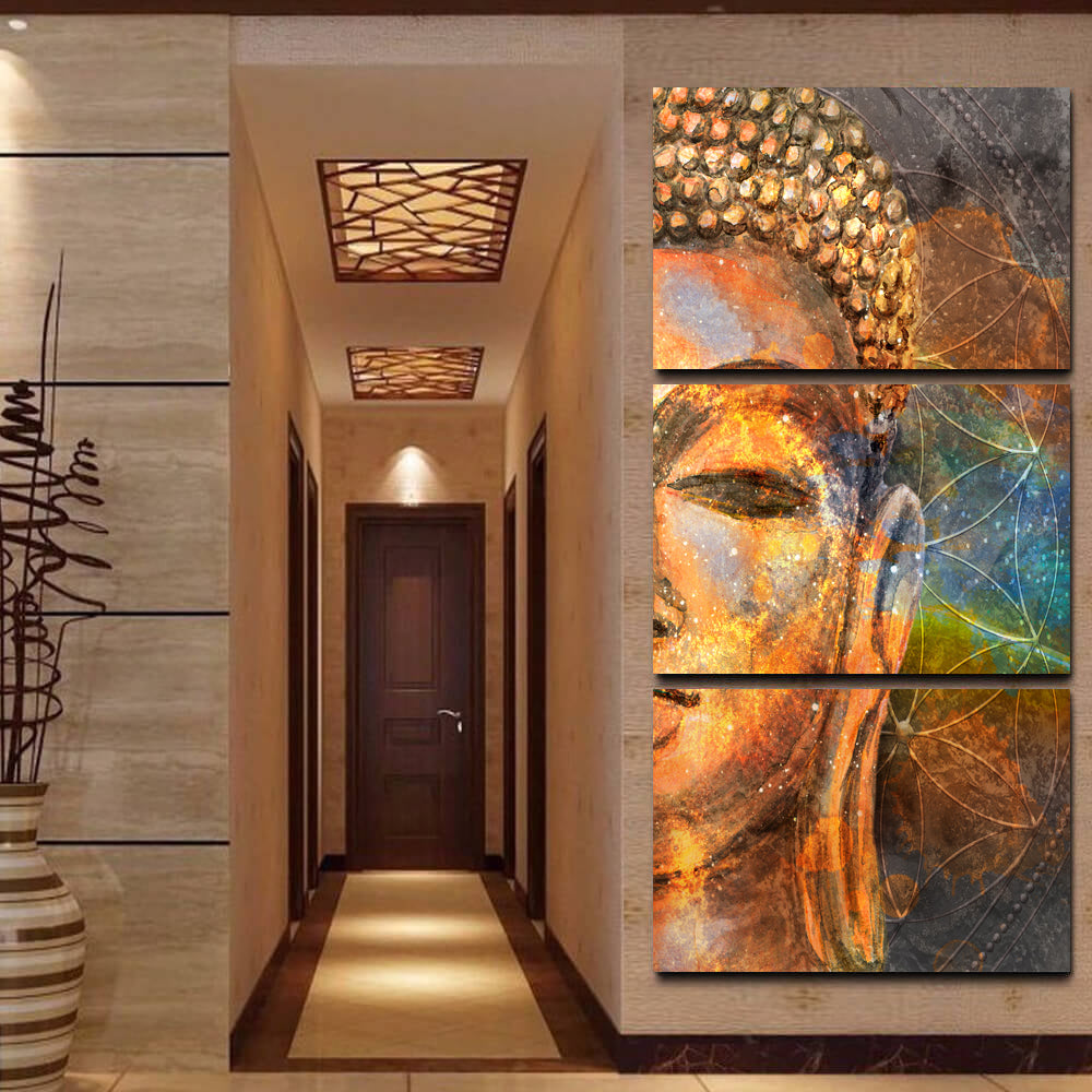 Modern canvas wall art buddha statue printed poster pictures 3 piece abstract painting decor