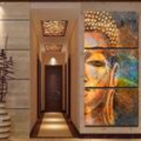 Modern Canvas Wall Art Buddha Statue Printed Poster Pictures 3 Piece Abstract Painting Decor - My Aashis