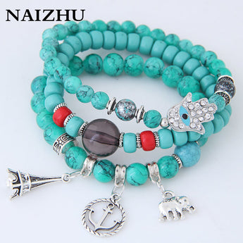Elephant Tower Stone Beads Bracelets For Women Vintage Ethnic Jewelry