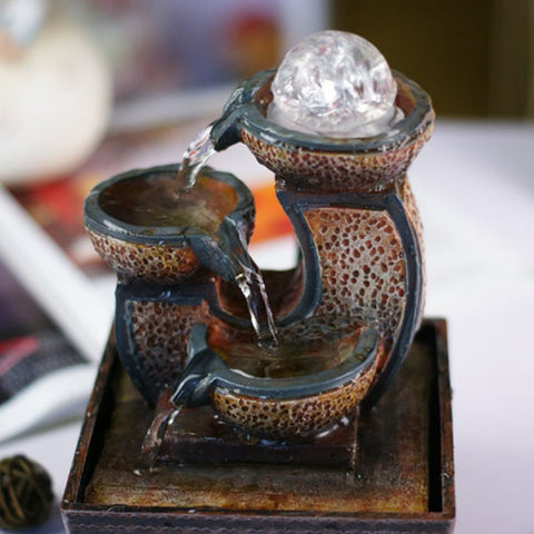 Creative Resin Fountain Water Features feng shui Wheel Desktop Decoration Home Decorations Household Water Fountain Crafts Gifts