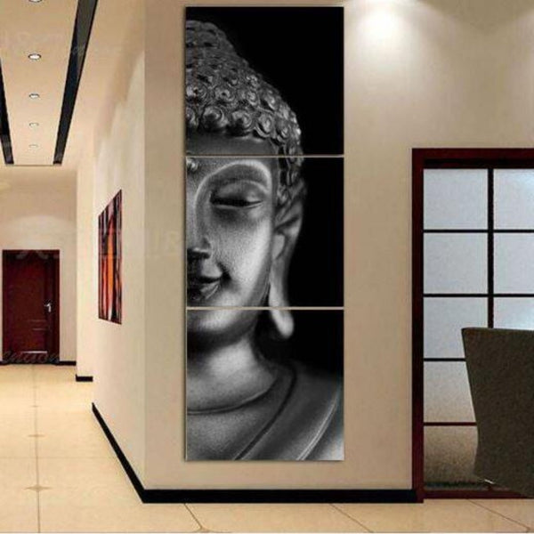 3 Panel Modern Buddha Canvas With Frame