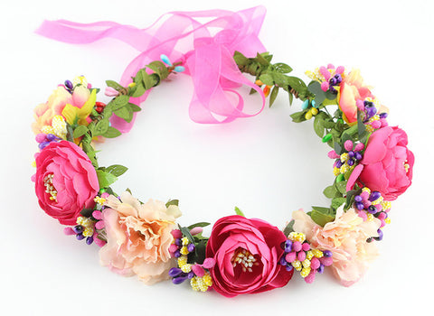 11 colors Handmade Fabric Camellia Flower Crown  for Kids
