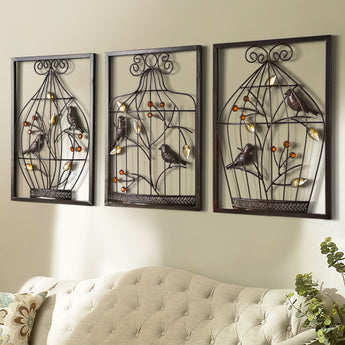 Stereo Background Wall Hanging  Iron Cage Wall Mural Creative