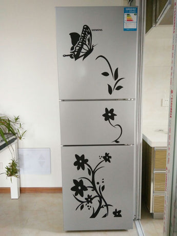 High Quality Creative Refrigerator Black Sticker Butterfly Pattern Wall Stickers Home Decoration Kitchen Wall Art Mural