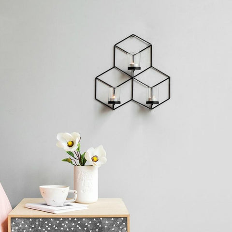 3D Metal Wall Hanging Golden Modern Large Hexagon Candlestick - My Aashis