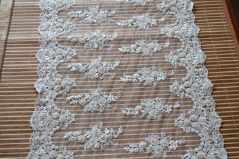 Beaded Lace Fabric Trim Table Runner - My Aashis