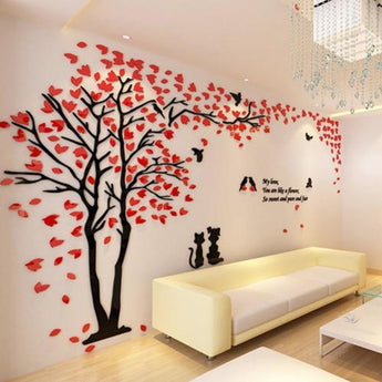 Couple Tree 3D Acrylic Stereo Creative Wall Stickers - My Aashis