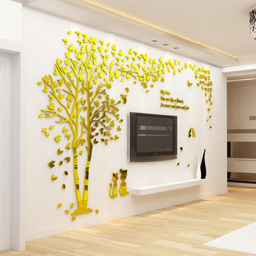 Couple Tree 3D Sticker Acrylic Stereo Wall Stickers Home Decor Living Room Bedroom Sofa Decorative