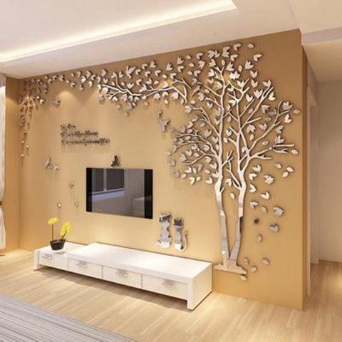 Couple Tree 3D Sticker Acrylic Stereo Wall Stickers Home Decor Living Room Bedroom Sofa Wall Decorative Art Creative