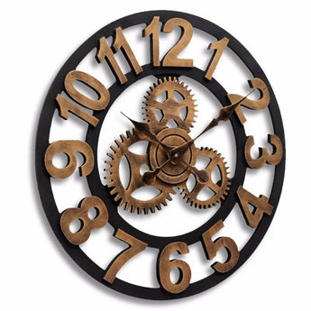 Handmade 3D Retro Rustic Decorative  Big Gear Wooden Vintage Large Wall Clock