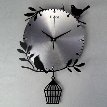 Mute Lovebirds Wall Clock Modern Design Metal Home Decor  16 inch