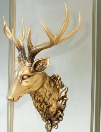 3D Resin Deer Head Wall Hanging Animal Garden Sculpture Resin