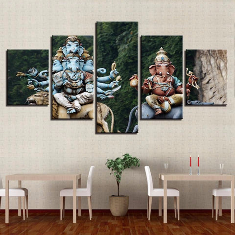Canvas Living Room 5 Pieces Ganesha Painting Wall Art Frame - My Aashis