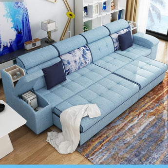 Multifunctional linen fabric sofa bed  velvet cloth sofa living room sofa bed sectional - My Aashis