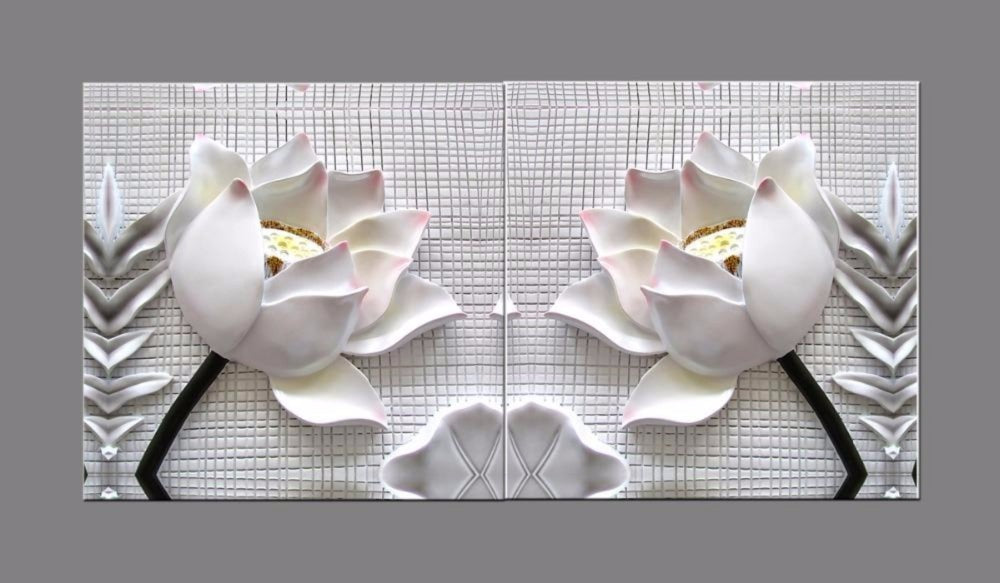 Modern 3d White Lotus Flowers Canvas 2 Piece Framed With Frame My