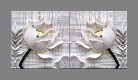 Modern 3D white lotus flowers canvas 2 piece framed with frame - My Aashis