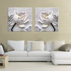 Modern 3D white lotus flowers canvas  2 piece framed with frame