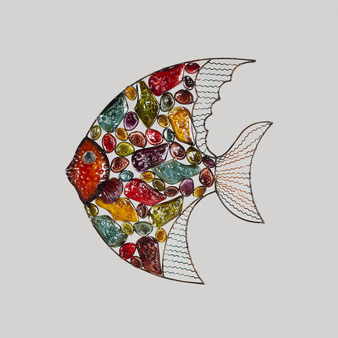 European Style Living Room Hanging Wall Decoration Color Fish Iron Painting - My Aashis