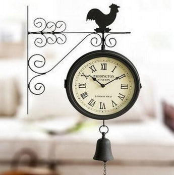 Double-Sided Wall Clock  Decorative Bells