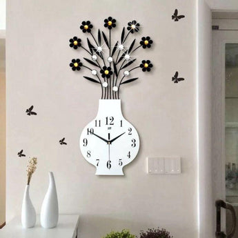 Decorative Non Ticking 3D Big Vase Wall Clock  Home Decor