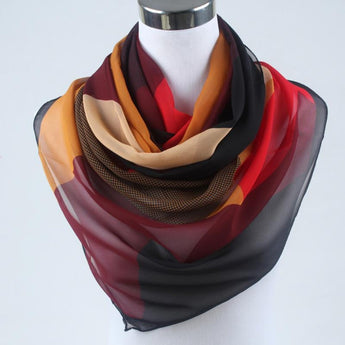 Chiffon women scarf polyester geometric pattern design long soft silk shawl