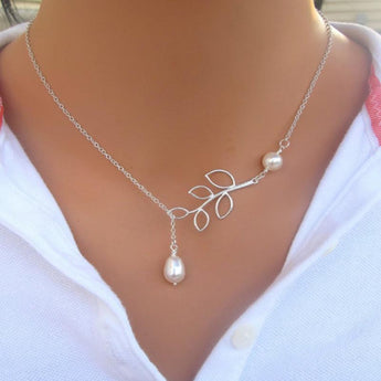Fashionable Chain Style Pearl Pendant Necklace - My Aashis