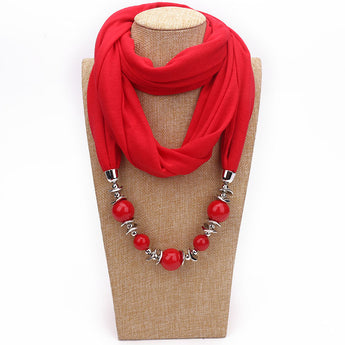 12 Colors Neckerchief Cotton Scarf Necklaces Beads Statement - My Aashis