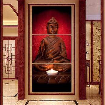 3 Panel Modern Canvas Buddha Wall Art - My Aashis