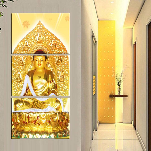 3 Panel Buddha Canvas Oil Painting Modular Art Framework Wall For Living Room