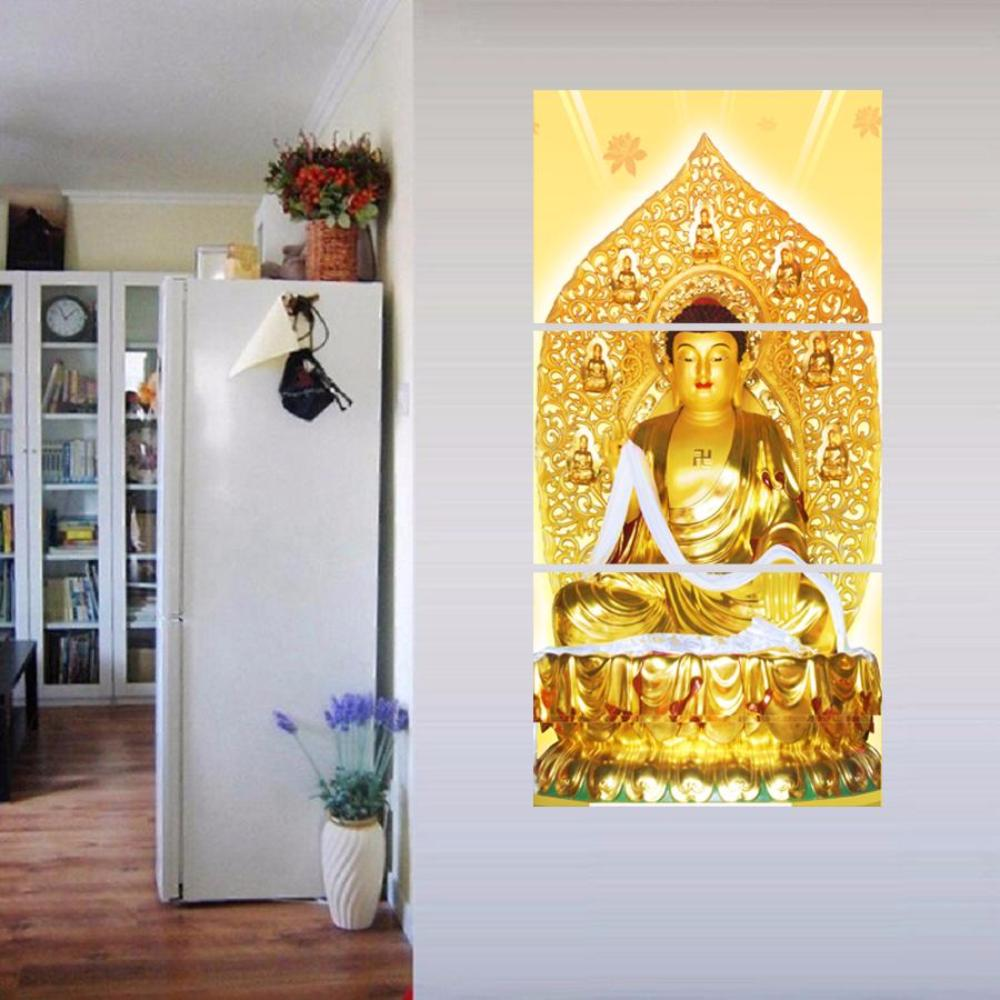 3 Panel Buddha Canvas Oil Painting Modular Art Framework Wall For ...