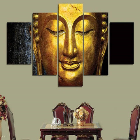 Golden Buddha Canvas Wall Hanging - My Aashis