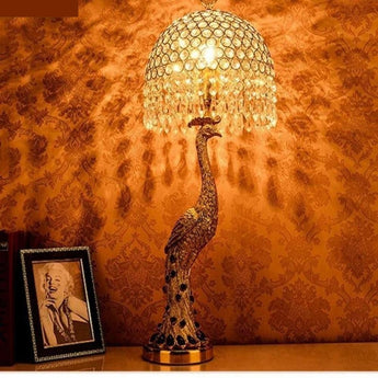 Golden Resin Peacock Table Lamp - My Aashis