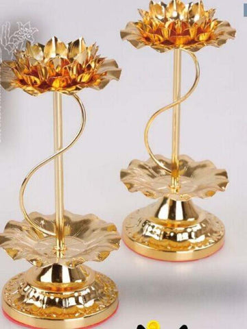 2pcs 15cm zinc alloy  Lotus shape candle holder