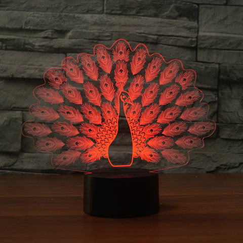 3D Peacock Acrylic Table Night Light Decorative Illusion - My Aashis