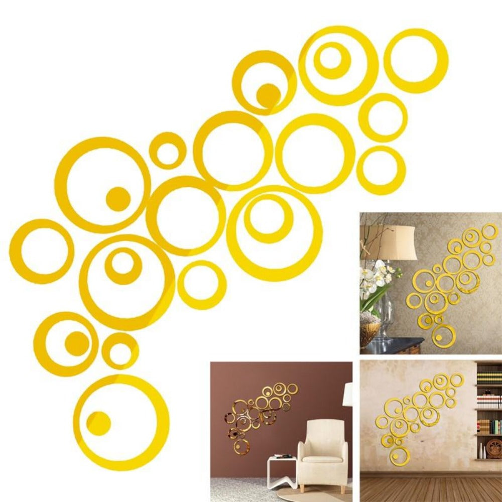 3D Wall Stickers Circles Mirror Style Removable Decal Vinyl Art ...