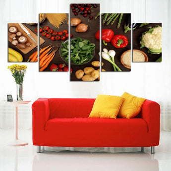 5 Pieces Kitchen Canvas Picture Decoration No Frame