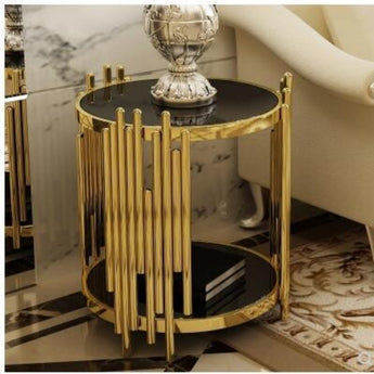 Modern toughened glass small tea table black side table.. - My Aashis
