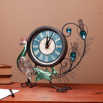 Peacock Iron Art Table Clock Living Room  Home Decor Desk