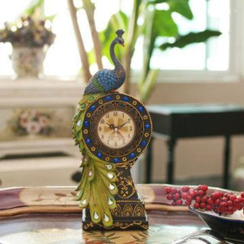 Vintage Retro Peacock Alarm Table Clock