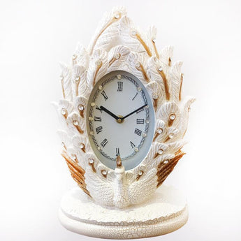Curved Resin Elegant Peacock Table Clock