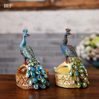 Colorful Ashtray Peacock Resin Statues For Decoration