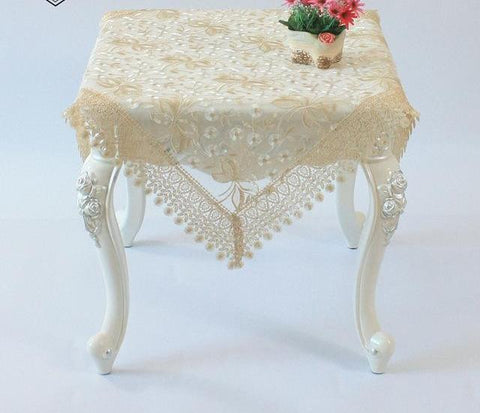 Embroidered Floral Elegant Beige Lace Fall Table Runner  Beige - My Aashis