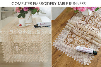 Luxury Cream Embroidered Lace Table Runner