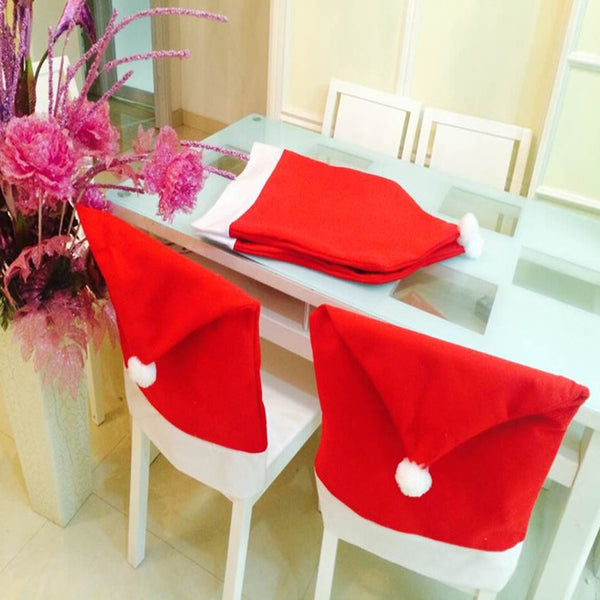Santa Clause Red Hat  Chair Back Cover Decoracion 2/4/6pcs