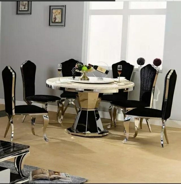 Minimalist Modern Glass Dining Table and 4 Chairs