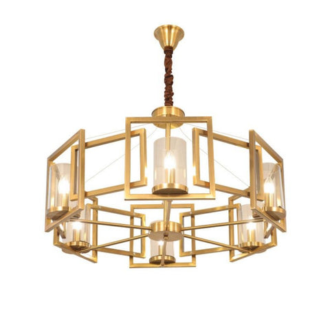 Double Spiral Gold Chandelier Hanging Suspension Lamp - My Aashis